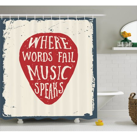 Rock Music Shower Curtain, Where Words Fail Music Speaks Quote Musical Slogan Hand Drawn Pick, Fabric Bathroom Set with Hooks, 69W X 70L Inches, Beige Red Slate Blue, by Ambesonne
