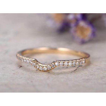0.25 Carat Band Wedding Band with Diamonds Anniversary Ring Curved U Design Antique Style Band with 18k Gold Plating