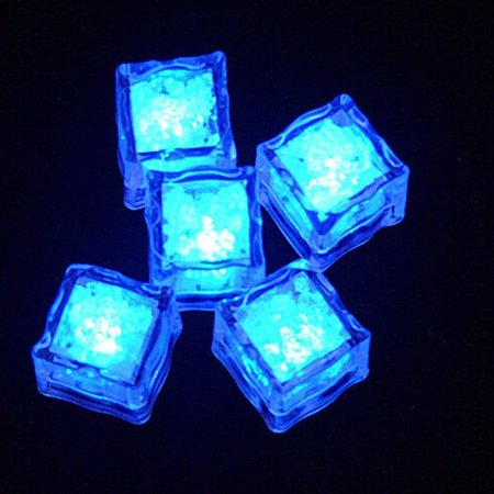 Party Decoration Blue 12pcs LED Flashing Lights Ice Cubes Water Sensor - Led Cube Lights Decorations