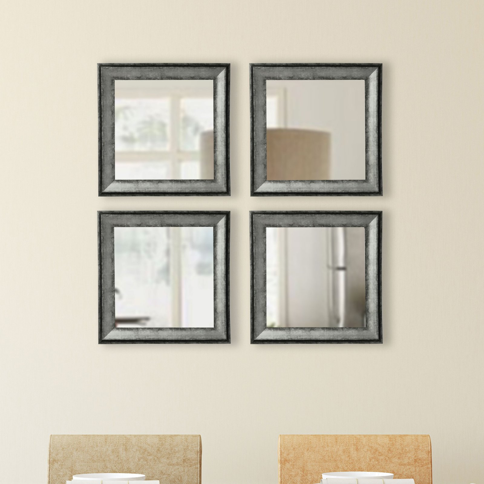 Rayne Mirrors Emerson Addison Sterling Square Wall Mirror - Set of 4