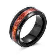 Koa Wood Inlay Black Titanium Wedding Band RingsforMen for Women Comfort Fit 8MM