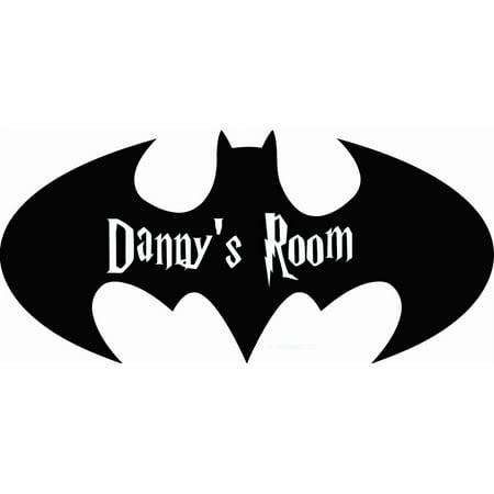 Batman Decor (Personalized Name Vinyl Decal Sticker Custom Initial Wall Personalization Decor Boys Room Batman Bat Symbol Cartoon Kids Bedroom 8 X 18)