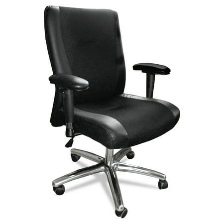 Mayline Mercado Series Mid-Back Leather/Mesh-Fabric Chair, Black
