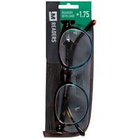 M+ Readers +1.75 Reading Glasses, Blue Tortoise Fade