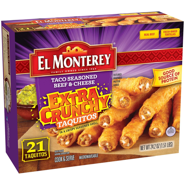 El Monterey® Taco Seasoned Beef & Cheese Extra Crunchy Taquitos 21 ct Box