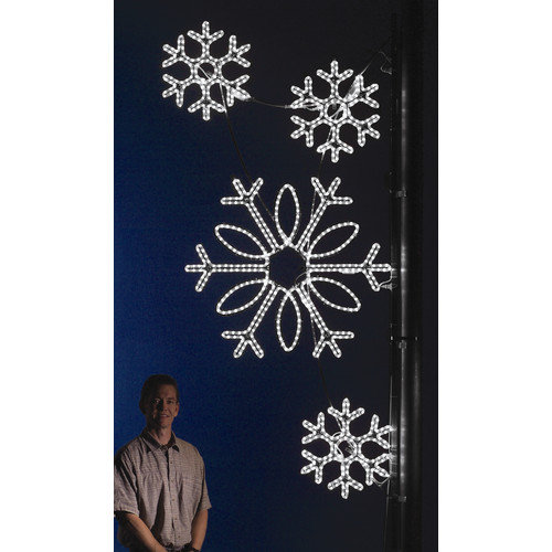 Holiday Lighting Specialists Pole Decoration Snowflake Cluster in Pure White (Set of 2)