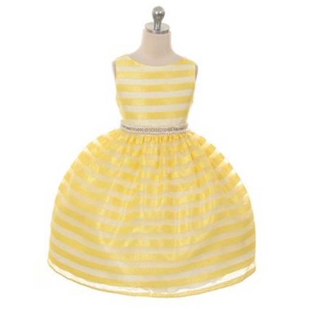 - Efavormart Organza Striped Overlay Flower Girl Dress with Gem Belt Birthday Girl Dress Junior Flower Girl Wedding Party Gown Dress