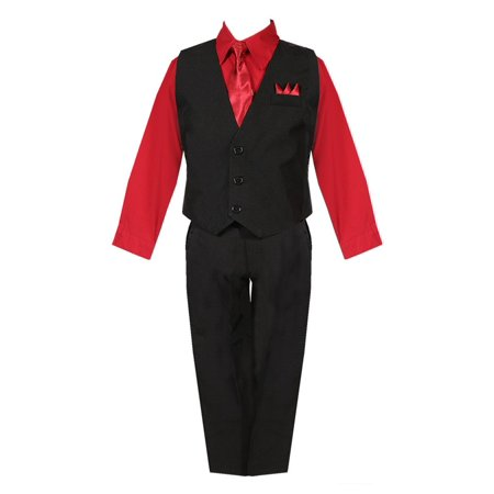 Little Boys Black Red Shirt Vest Pants Neck Tie Pocket Hanky 5 pcs Suit - Suits For Little Boys