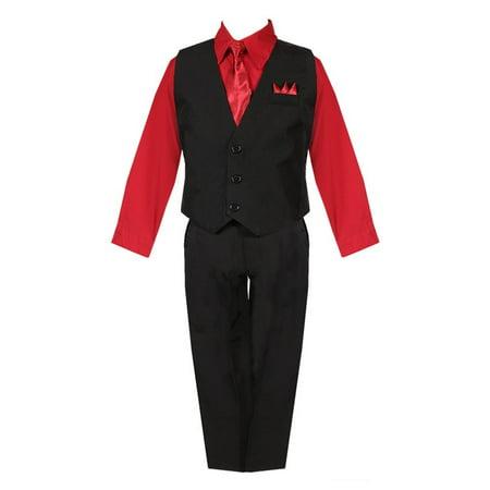 Little Boys Black Red Shirt Vest Pants Neck Tie Pocket Hanky 5 pcs Suit 2-7