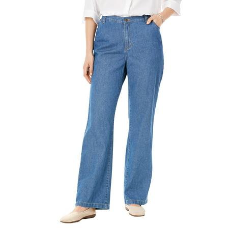 Woman Within Plus Size Petite Back-Elastic Wide Leg Cotton Jean
