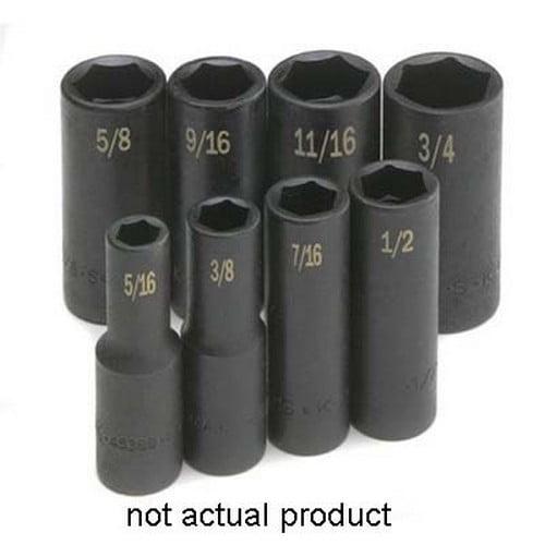 "SK Hand Tools 45364 3/8"" Drive 6 Point Deep Impact Socket 7/16"""