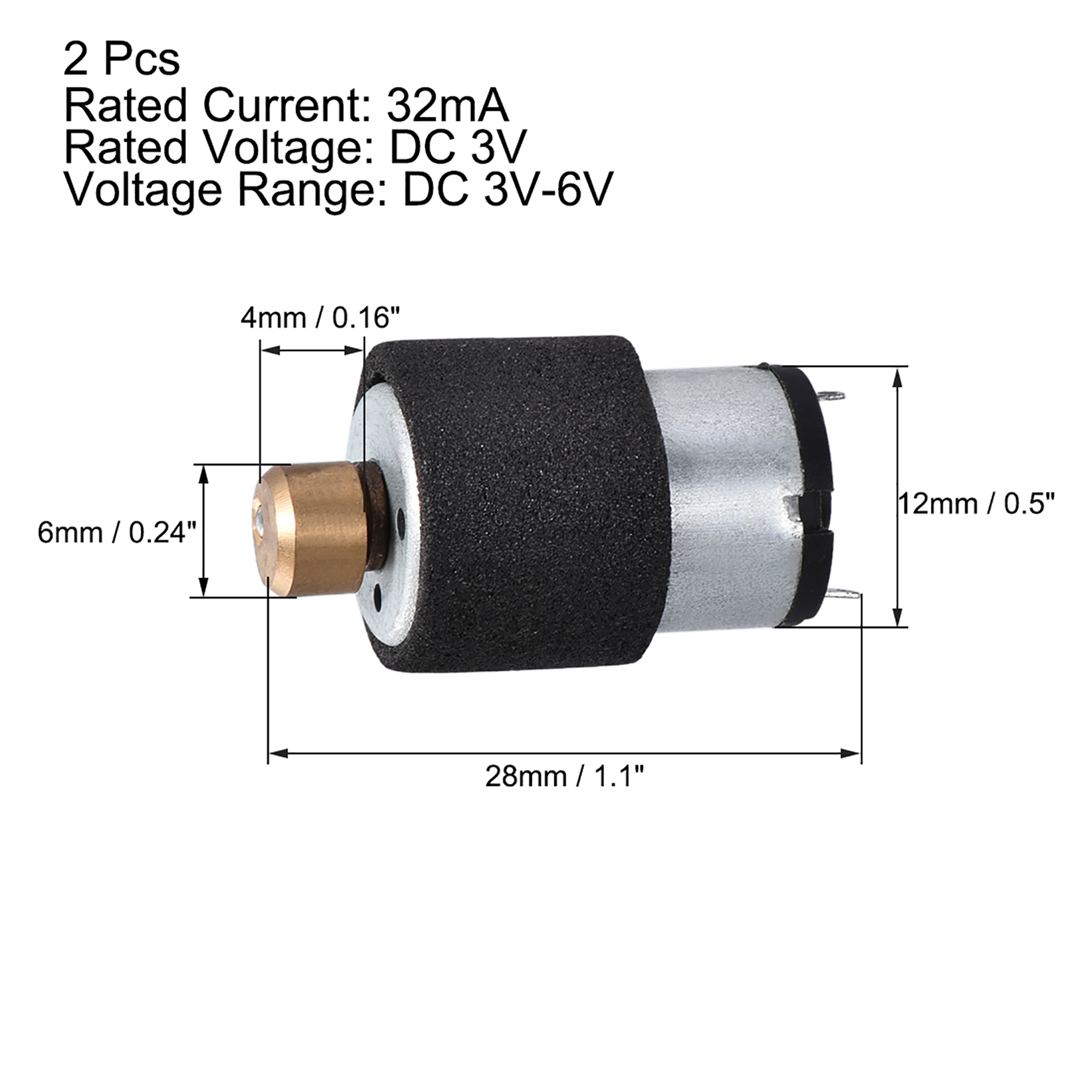 sourcing map Micro Mini Vibraci/ón Motores Fuerte Alimentaci/ón DC 3V-6V 32mA 28x12mm El/éctrico Motor 5uds