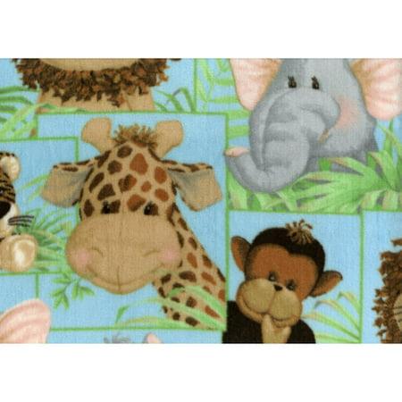 Fleece prints fleece jungle babies fabric for Childrens jungle print fabric