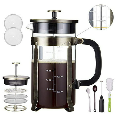 NK HOME 8-Cup 1.0L Coffee Maker, French Press Coffee Maker, 34oz Coffee and Tea Makers with 4 Level Filtration System, 304-Grade Stainless Steel, Heat Resistant Borosilicate Glass
