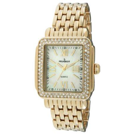 Peugeot Rectangle Crystal Bezel Roman Numeral Dial 14K Gold Plated Bracelet Dress Watch 7080G - Roman Dresses