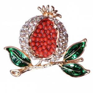 Fancyleo Red Pomegranate Bling Crystal Brooch Corsage Lovely Green Leaves Brooch Enamel Fruit Pins