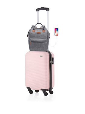 "20"" Luggage Travel Case 4-Wheel Spinner ABS Carry On Luggage Suitcase with 1 Business Travel Laptop Backpack"