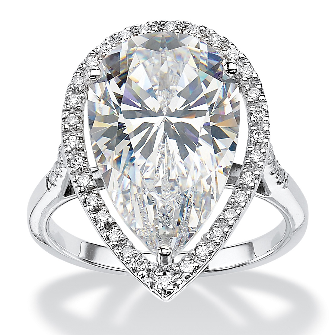 8.33 TCW Pear-Cut Cubic Zirconia Halo Ring in Platinum over Sterling Silver by PalmBeach Jewelry