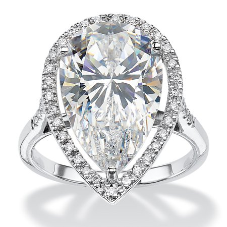 8.33 TCW Pear-Cut Cubic Zirconia Halo Ring in Platinum over Sterling