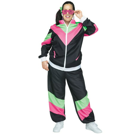 80s Female Track Suit Plus Size Costume (Famous Female Duos Costumes)