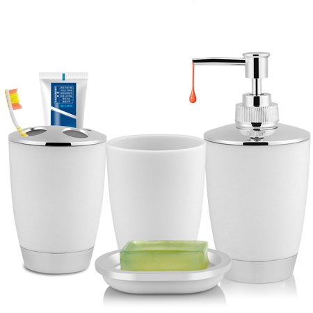 Bathroom Cup Dispensers - EECOO Toothbrush Holder,4Pcs/Set Bathroom Suit Accessories Includes Cup Toothbrush Holder Soap Dish Dispenser Soap Dispenser