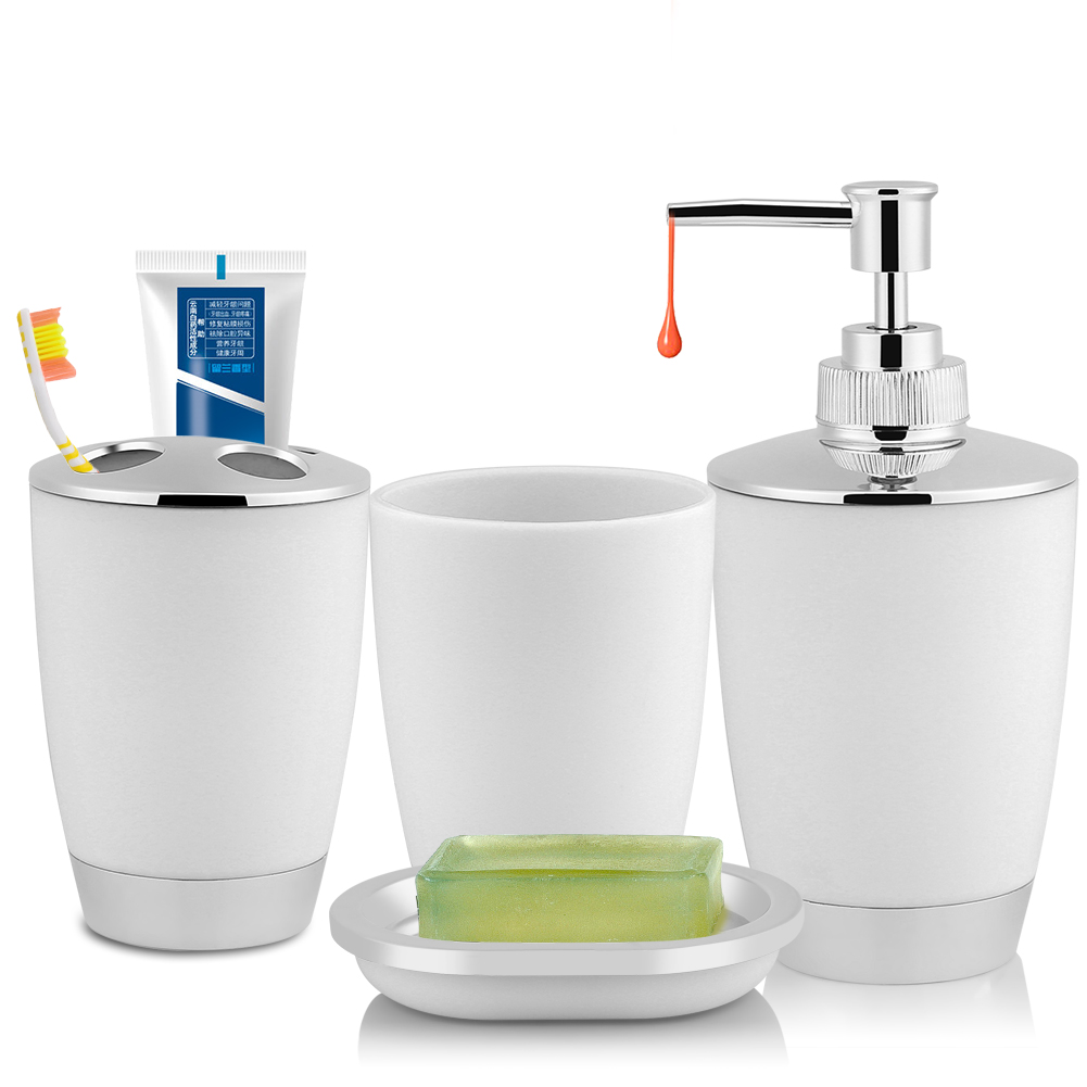 HURRISE 4Pcs/Set Bathroom Suit Accessories Includes Cup Toothbrush Holder Soap Dish Dispenser