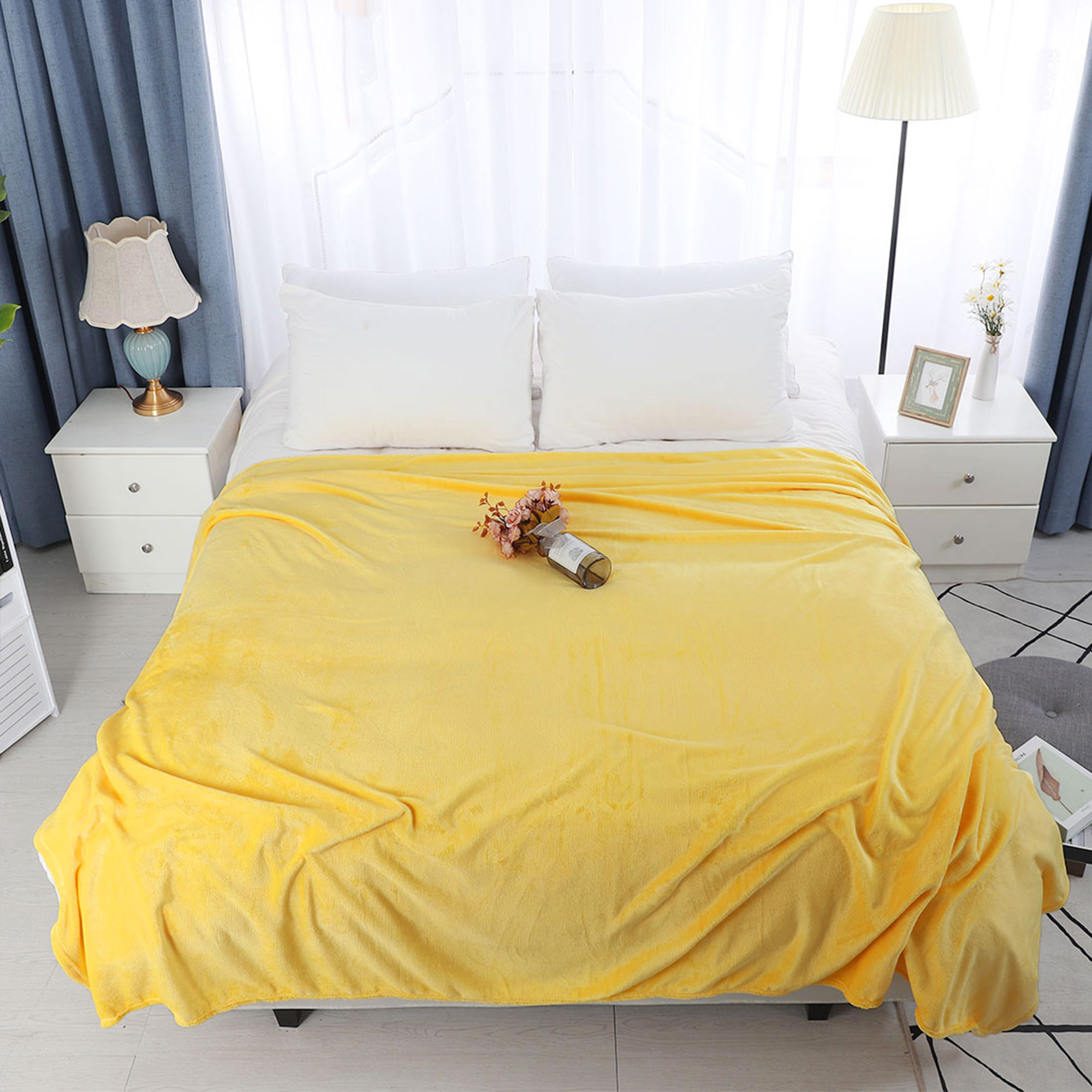 Home Bedroom Soft Microplush Fleece Throw Blanket for Queen Bed Camel Color