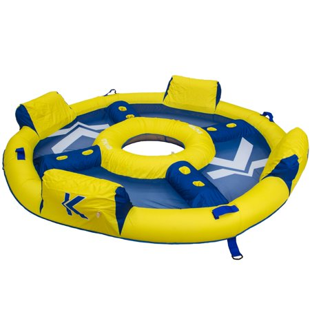 Kelsyus Big Nauti Elite 4-Person Inflatable Pool Float Tube Raft, Yellow &