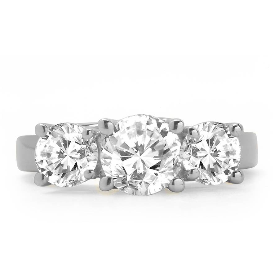 2 Carat T.W. Round White Diamond 14kt White Gold 3-Stone Ring, IGL certified by Generic