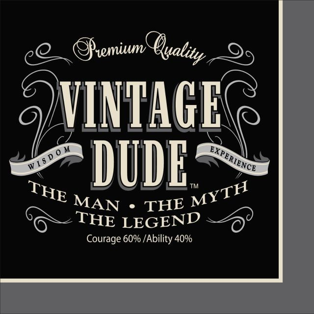 Party Creations Vintage Dude Beverage Napkins, 16 Ct