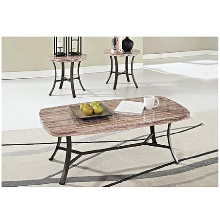 Val Faux Marble 3 Piece Coffee And End Table Set Walmart Com