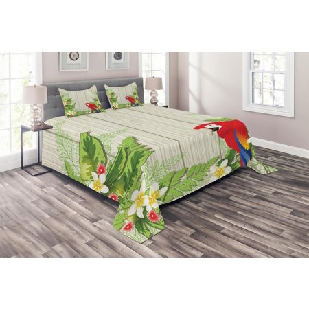 Parrot Coverlet Set, Tropic Flowers and African Parrot in Summer Garden Wooden Wall Ferns Art, Decorative Quilted Bedspread Set with Pillow Shams Included, Cream Green Vermilion, by -