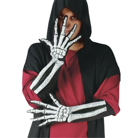 Wrist Bone Skeleton Gloves Adult Halloween Accessory](Halloween Skeleton Q Tips)