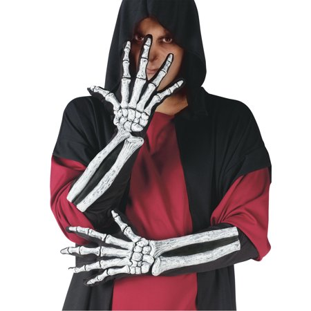 Wrist Bone Skeleton Gloves Adult Halloween Accessory](Halloween Skeleton Songs For Kids)