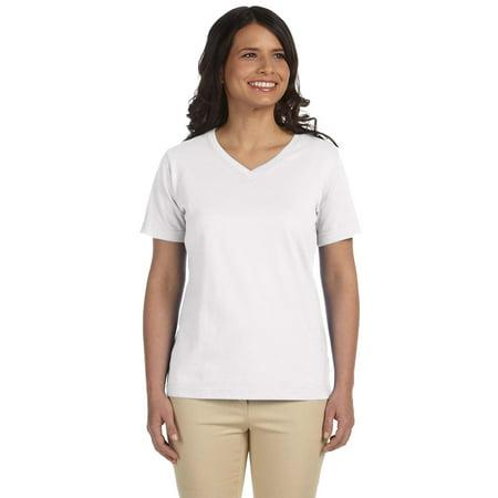 LAT 3587 Women's Ringspun V-Neck Jersey T-Shirt](Pink Leopard Print)