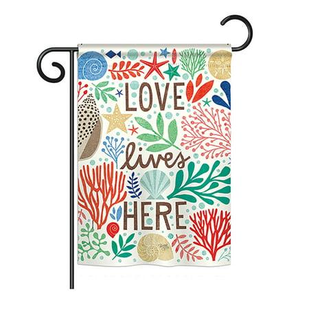 Breeze Decor - Love Lives Here Coastal - Everyday Nautical Impressions Decorative Vertical Garden Flag 13