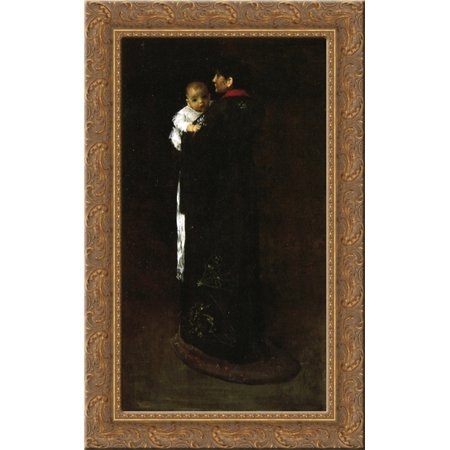 Mother and Child (The First Portrait) 24x16 Gold Ornate Wood Framed Canvas Art by William Merritt Chase
