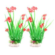 Unique BargainsAquarium Fish Tank Plastic Underwater Flowers Grass Plant Colorful 2pcs