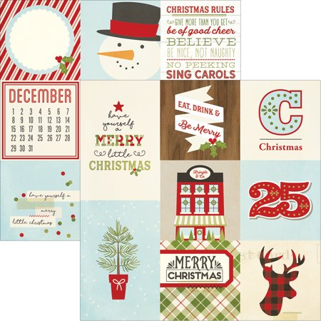 """Classic Christmas Double-Sided Elements Cardstock 12""""X12""""-4""""X4"""" & 4""""X6"""" Vertical Journaling Cards"""
