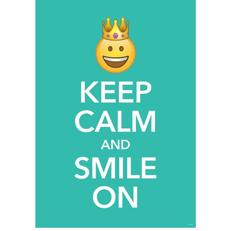 Wall Poster Keep Calm and Smile on Emoji Fun Inspire U (8099), 13 3/8