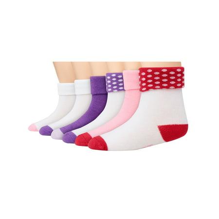 Turn Cuffs Non Skid - Hanes Non-Skid Turn-Cuff Socks, 12-Pack (Baby Girls & Toddler Girls)