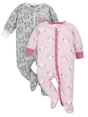 Gerber Baby Girl Zip Up Sleep 'N Play Sleepers Pajamas, 2-Pack