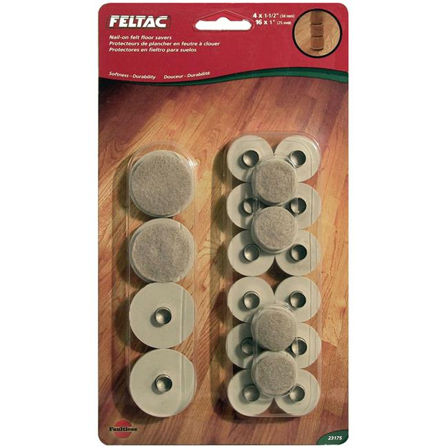 MADICO 23175 Feltac - 20 Pieces Heavy Duty Ferrule Felt Pads - Beige - 6 Packs