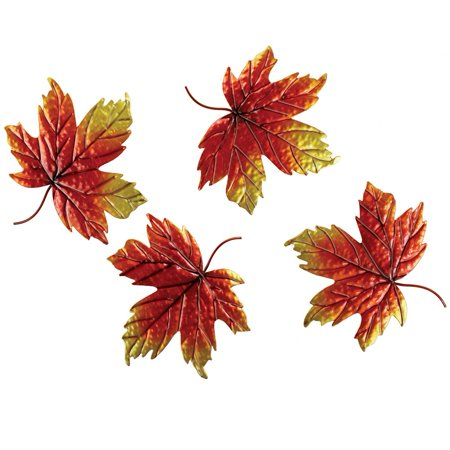 Metal Autumn Leaves Wall Decor - Set Of 4 ()