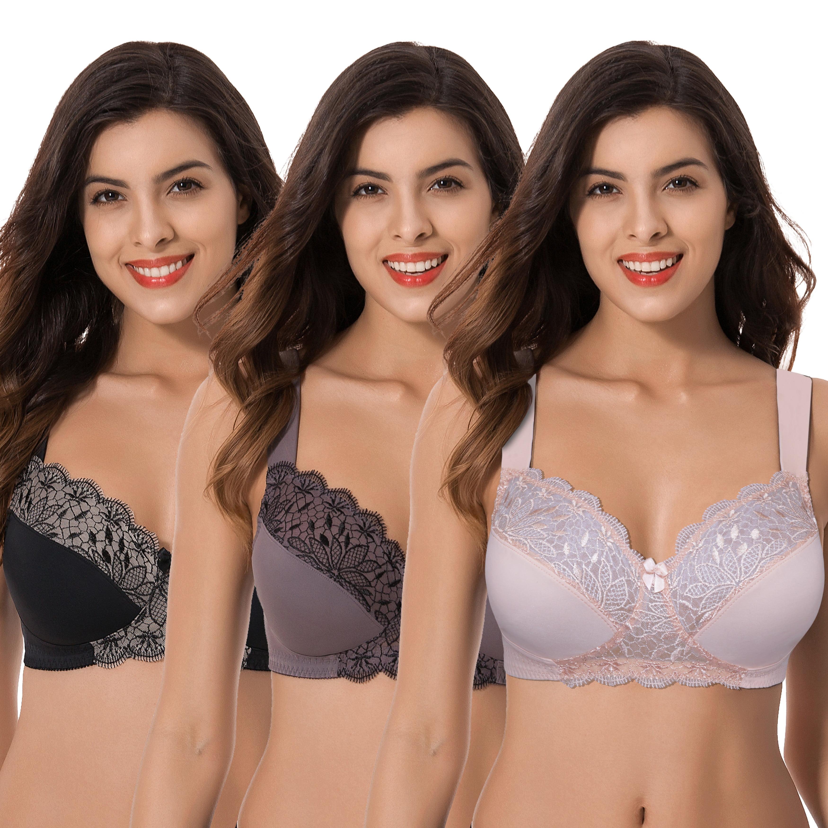 Curve Muse Womens Plus Size Minimizer Reggiseno Sfoderato Senza Fili con Confezione in Pizzo Ricamato-2