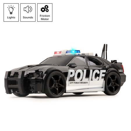 Vokodo Police Car Friction Powered 1:20 Scale With Lights Sirens And Sounds Durable Kids Rescue Emergency City Cop Vehicle Push And Go Pursuit SWAT Toy Pretend Play Great Gift For Children Boys