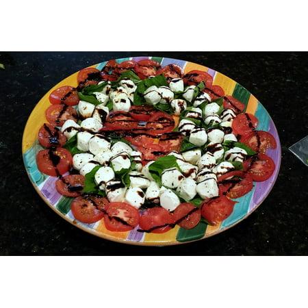 Fresh Mozzarella Caprese (Canvas Print Tomatoes Caprese Salad Mozzarella Fresh Basil Basil Stretched Canvas 10 x)