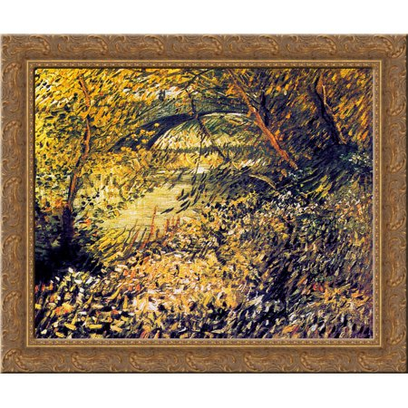 Banks Of The Seine In The Spring 24X20 Gold Ornate Wood Framed Canvas Art By Vincent Van Gogh