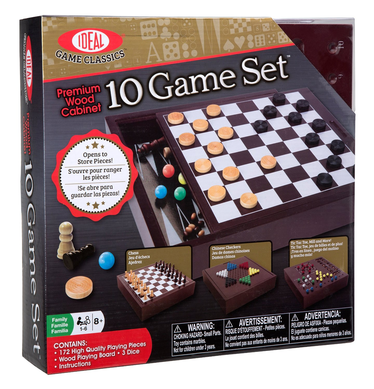 Premium Wood Cabinet 10 Game Set, USA, Brand Ideal