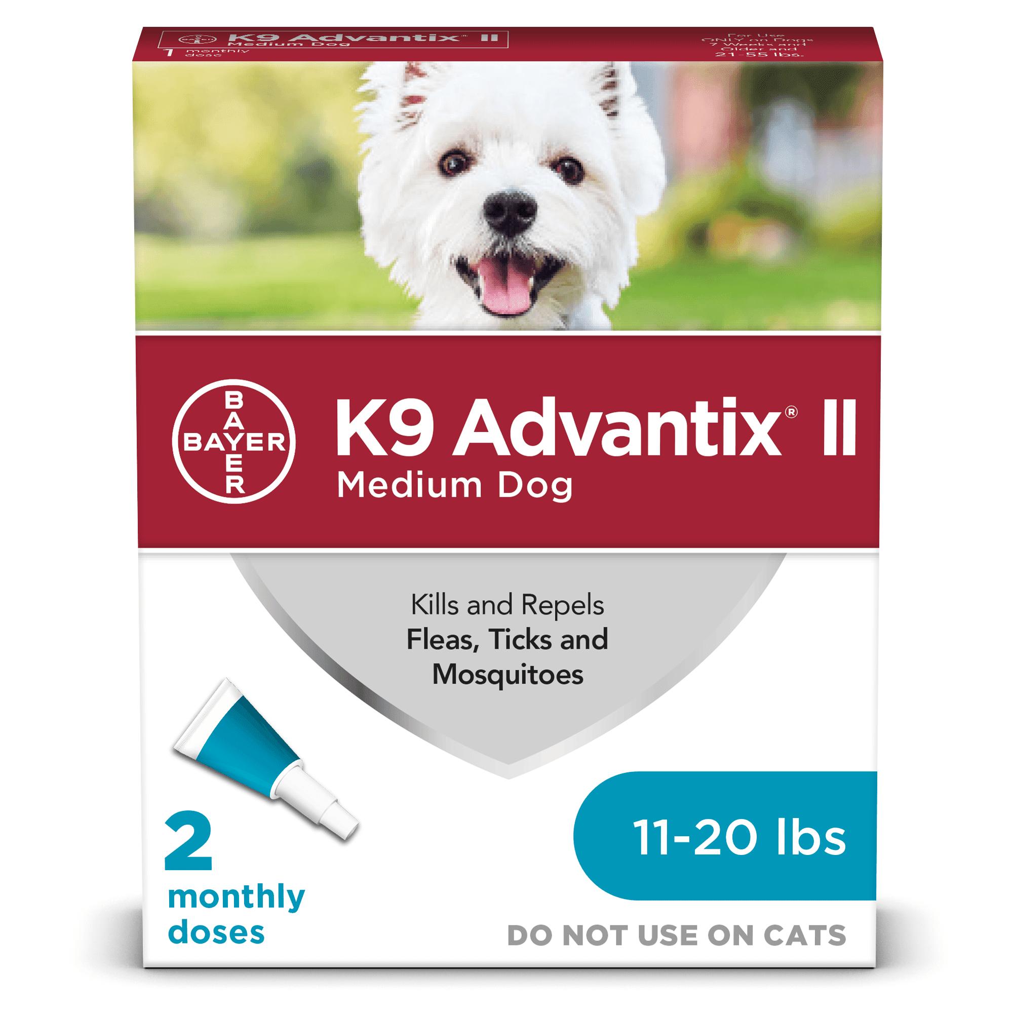 K9 Advantix II Flea and Tick Treatment for Medium Dogs, 2 ...